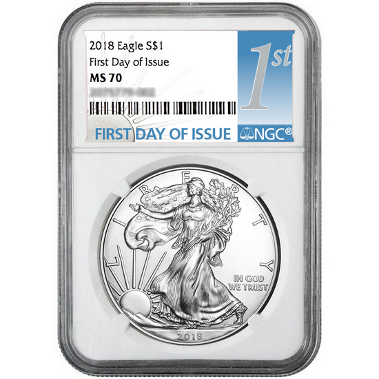 2018 Silver American Eagle MS70 FDI NGC 1st Label