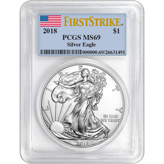 2018 Silver American Eagle MS69FS PCGS Flag Label