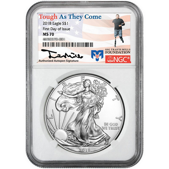 2018 Silver American Eagle MS70 FDI NGC Travis Mills Foundation Label