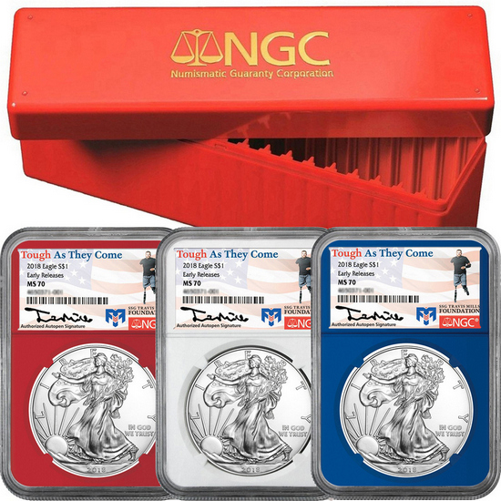 2018 Silver American Eagle MS70 ER NGC Travis Mills Foundation Label Red, White & Blue Core 3pc Set in Red NGC Box
