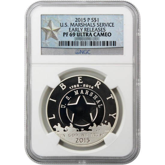 2015 P United States Marshals 225th Anniversary Silver Dollar PF69 UC ER NGC White Star Label