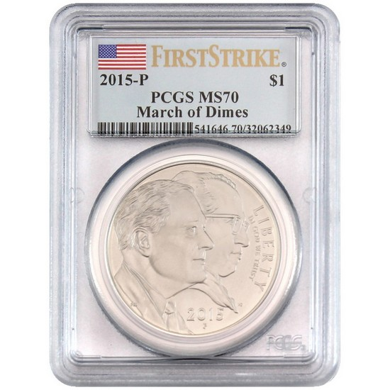 2015 P March of Dimes Silver Dollar MS70 FS PCGS