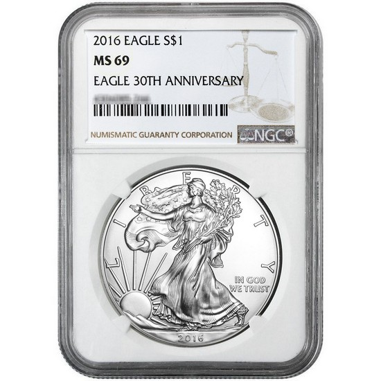 2016 Silver American Eagle MS69 NGC Brown Label