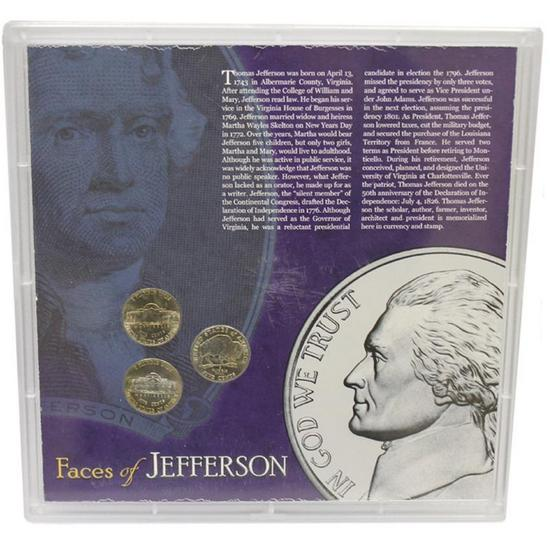 Faces of Jefferson Nickels Stamps and $2 Bill