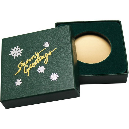 Season's Greetings Green Laminated Cardboard Box for 39mm Medallion