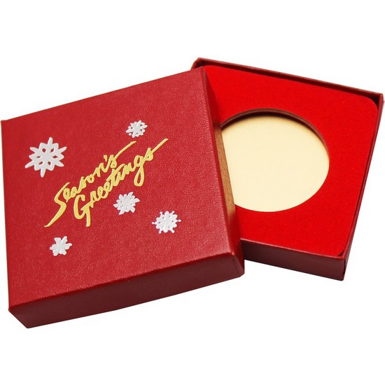 Season's Greetings Red Laminated Cardboard Box for 39mm Medallion