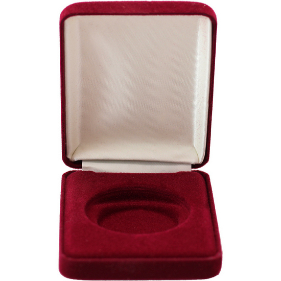 Burgundy Velvet Clamshell Gift Box for 1oz Medallions and Rounds