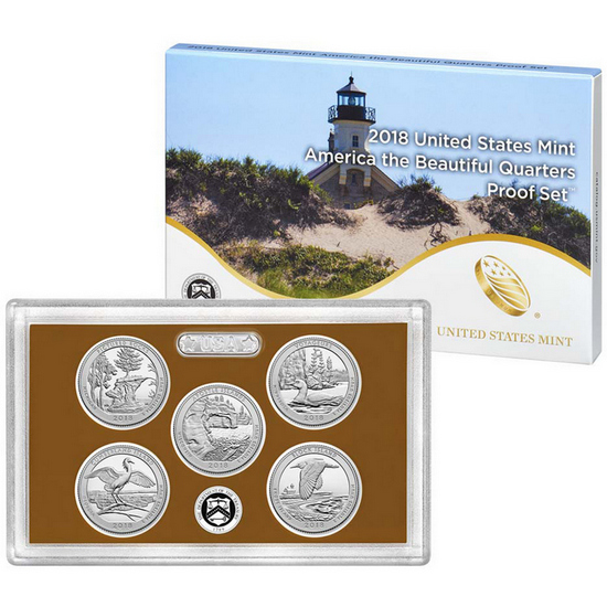 2018 S United States Mint 5pc America The Beautiful Quarter Clad Proof Set