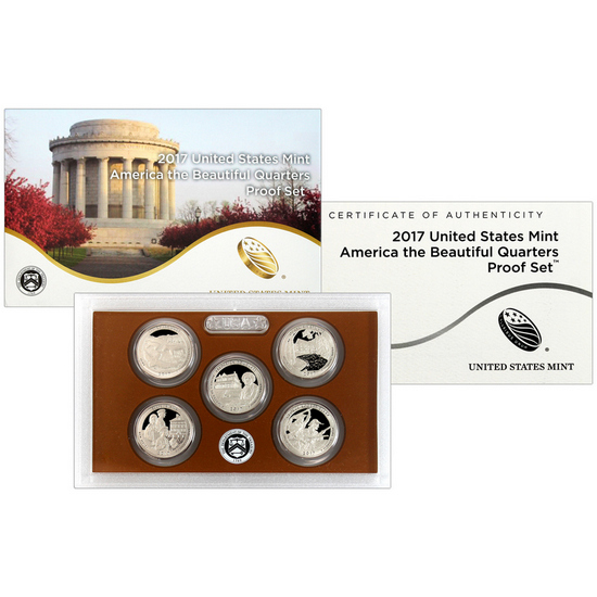 2017 S 5pc America The Beautiful Quarter Proof Set