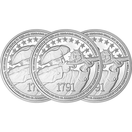 2nd Amendment 1oz .999 Fine Silver Medallion 3pc