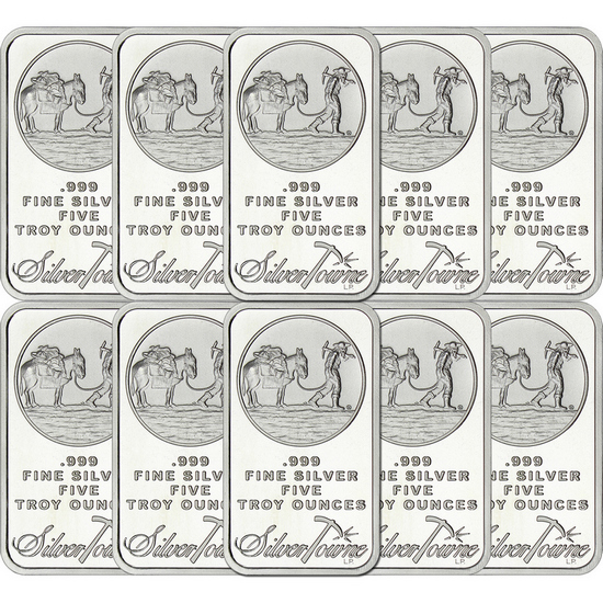 SilverTowne Trademark 5oz .999 Silver Bar 10pc