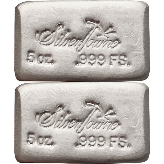 SilverTowne Poured 5oz .999 Silver Bar 2pc