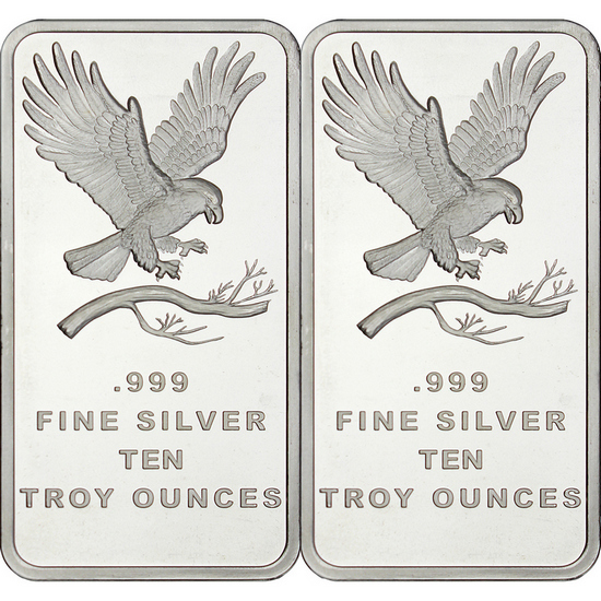 SilverTowne Trademark Eagle 10oz .999 Silver Bar 2pc