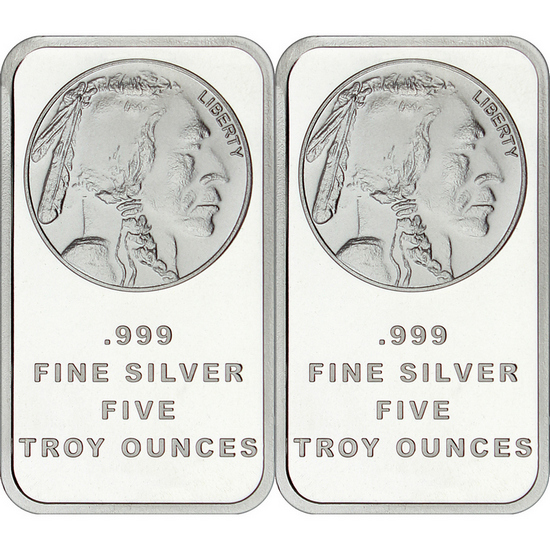 Buffalo Replica 5oz .999 Silver Bar 2pc