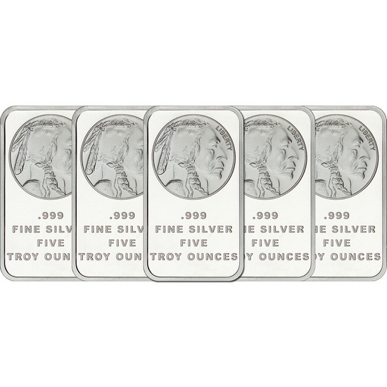Buffalo Replica 5oz .999 Silver Bar 5pc