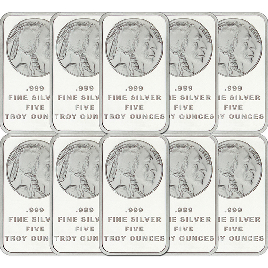 Buffalo Replica 5oz .999 Silver Bar 10pc