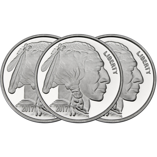 2017 Buffalo Replica 1oz .999 Silver Medallion 3pc
