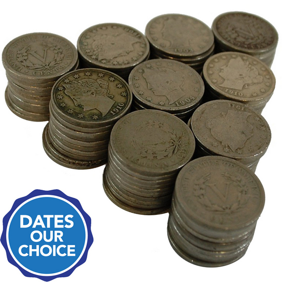 100pc Liberty Head V Nickel Grab Bag Dates Our Choice