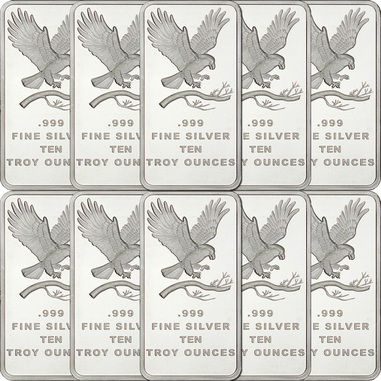 SilverTowne Trademark Eagle 10oz .999 Silver Bar 10pc