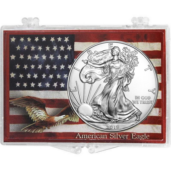 2017 Silver American Eagle American Flag and Eagle Snaplock