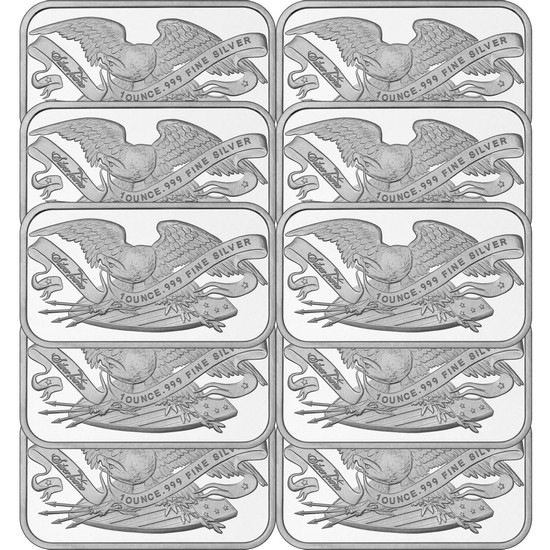 Retro SilverTowne Eagle and Shield 1oz .999 Silver Bar 10pc