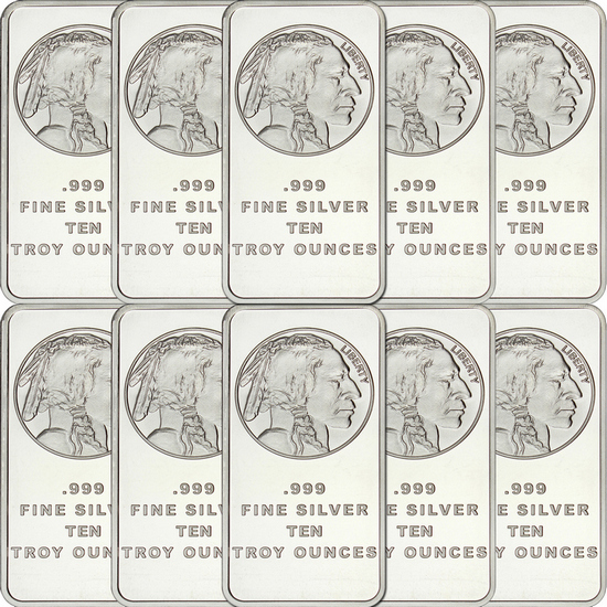 Buffalo Replica 10oz .999 Silver Bar 10pc