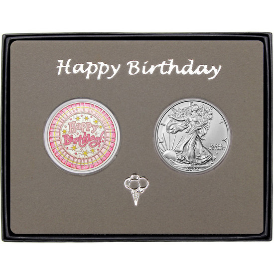 Happy Birthday Stripes Enameled Pink Silver Round and Silver American Eagle 2pc Box Set