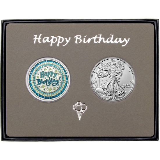 Happy Birthday Stripes Enameled Blue Silver Round and Silver American Eagle 2pc Box Set