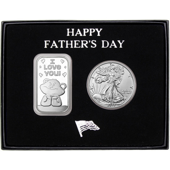 Happy Father's Day I Love You Bear Silver Bar and Silver American Eagle 2pc Gift Set