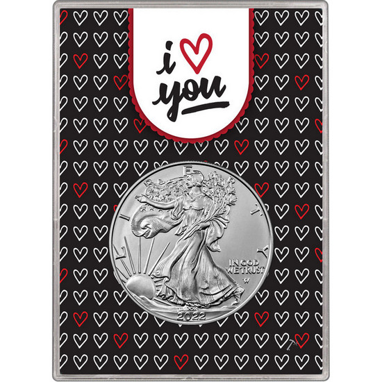 2018 Silver American Eagle BU in I Love You Hearts Gift Holder