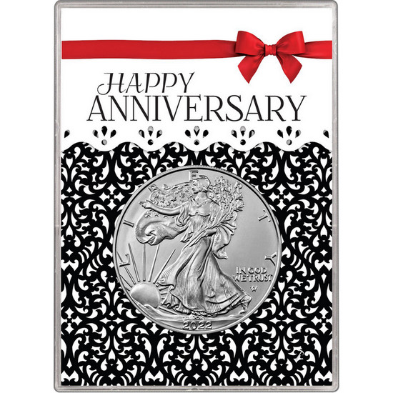 2020 Silver American Eagle BU in Happy Anniversary Red Bow Gift Holder