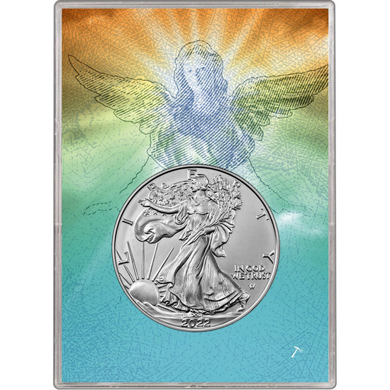 2019 Silver American Eagle BU in Religious Angelic Angel Gift Holder