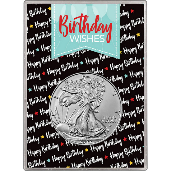 2018 Silver American Eagle BU in Birthday Wishes Balloons Gift Holder