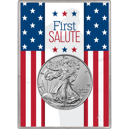2020 Silver American Eagle BU in Silver Dollar First Salute Gift Holder