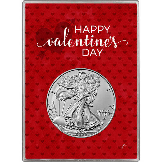 2018 Silver American Eagle BU in Happy Valentine's Day Gift Holder