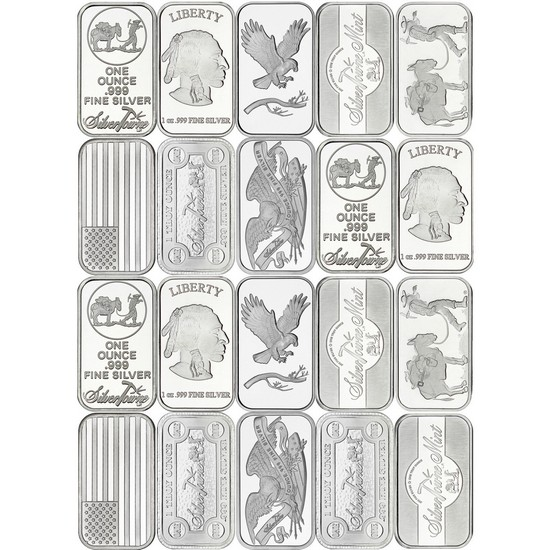Mixed Designs 1oz .999 Silver Bar 20pc