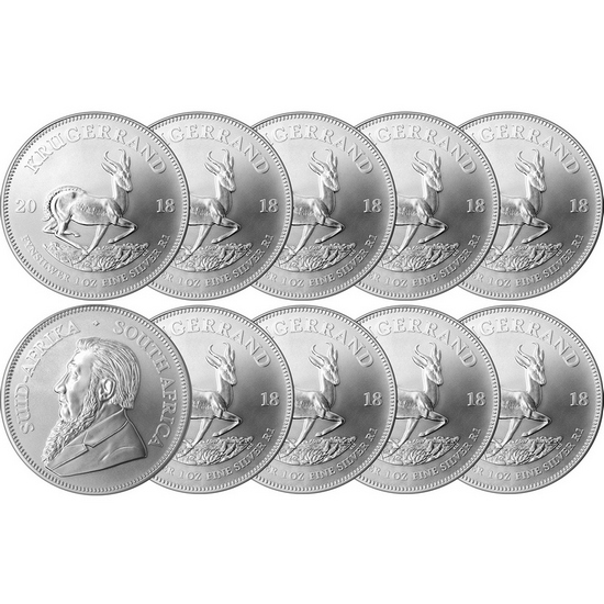 2018 South Africa Silver Krugerrand 1oz BU Coin 10pc