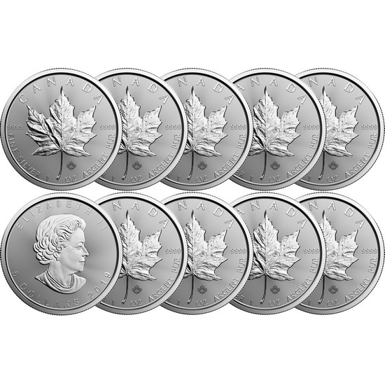 2019 Canada Silver Maple Leaf 1oz BU Coin 10pc