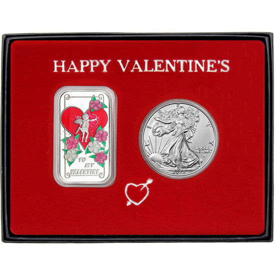 Valentine Enameled Symbols of Love Silver Bar and Silver American Eagle 2pc Gift Set