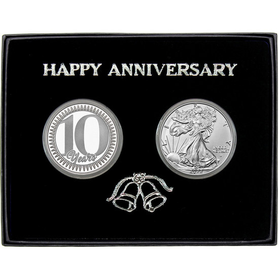 Happy 10 Year Anniversary Silver Round and Silver American Eagle 2pc Box Set