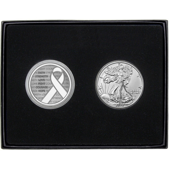 Cancer Awareness Ribbon Silver Medallion and Silver American Eagle 2pc Gift Set