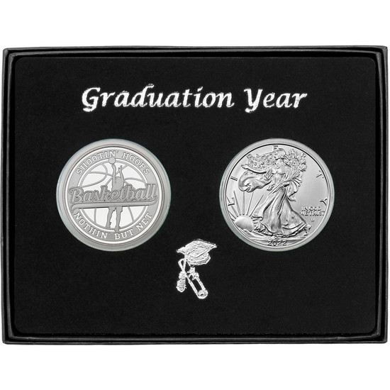 Graduation 2019 Basketball Athlete Silver Round and Silver American Eagle 2pc Gift Set