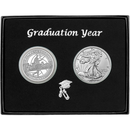 Graduation 2020 Volleyball Athlete Silver Round and Silver American Eagle 2pc Gift Set