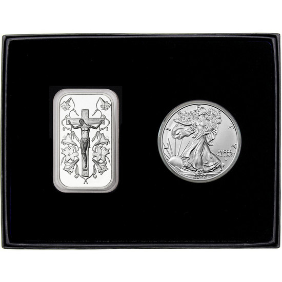 Jesus on the Cross Silver Bar and Silver American Eagle 2pc Gift Set