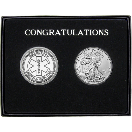Congratulations EMS Silver Round and Silver American Eagle 2pc Gift Set