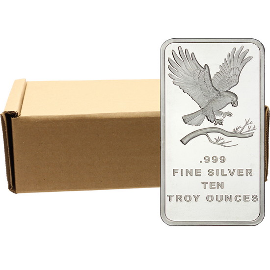 SilverTowne Trademark Eagle 10oz .999 Silver Bar 50pc