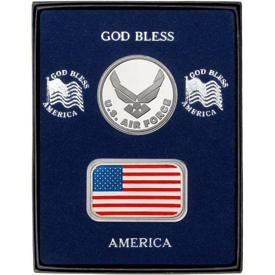 Enameled American Flag Silver Bar and Air Force Silver Medallion 2pc Gift Set