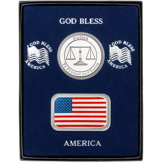 Enameled American Flag Silver Bar and Police Silver Medallion 2pc Gift Set