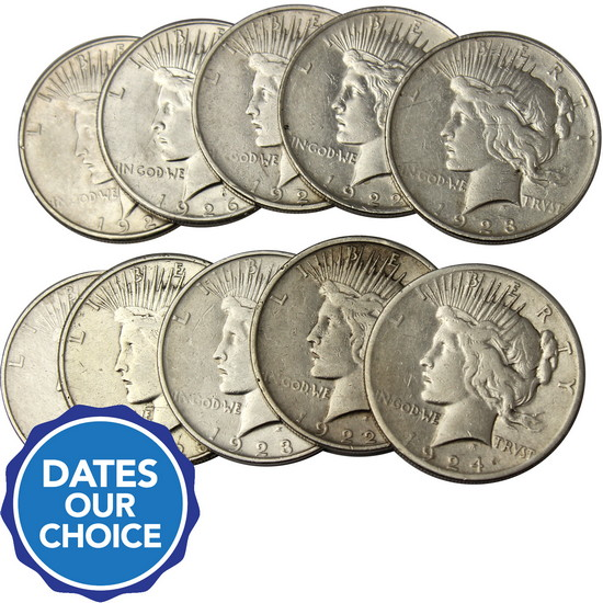 Cull Silver Peace Dollar Date Our Choice 10pc