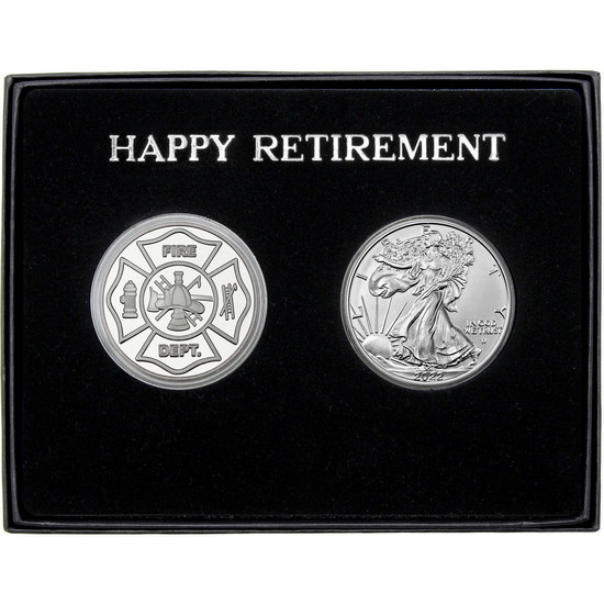 Firefighter/Fire Departmet Happy Retirement Silver Gift Set